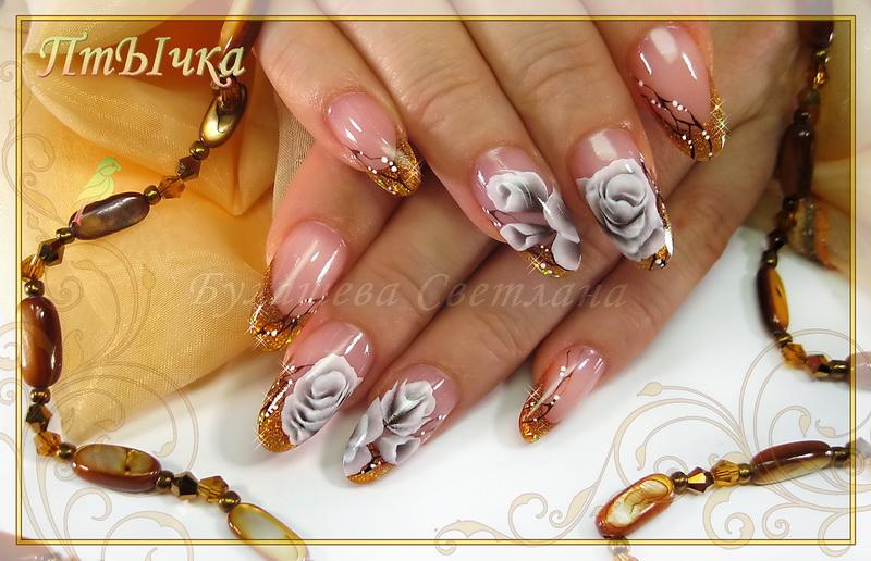 Белые розы by ПтЫчка in Ручная роспись